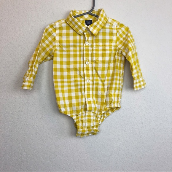 684fc1b5c GAP Shirts & Tops | Baby Yellow Plaid Button Up Onesie 1218 Month ...